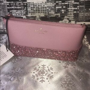 KATE SPADE PINK GLITTER SMALL POUCH